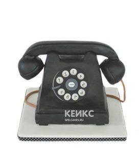 Торт в форме черного дискового телефона
