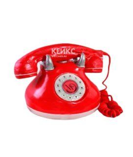 Торт в виде красного стационарного телефона