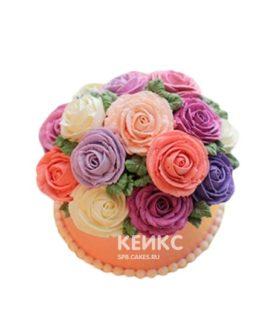 Торт в малазийской технике с разноцветными цветами