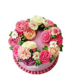Сиреневый торт в малазийской технике с цветами