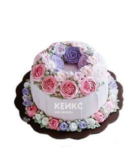 Торт в малазийской технике с красивыми цветами
