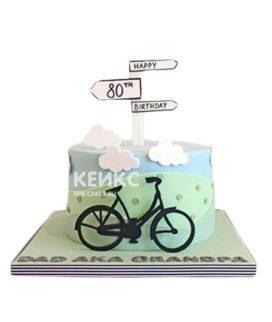 Торт с велосипедом и дорожными указателями