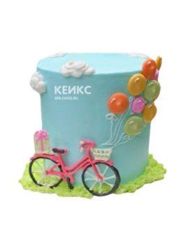 Голубой торт с велосипедом и шариками