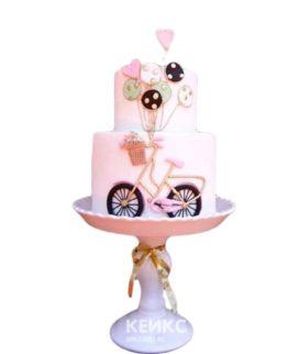 Розовый торт Велосипед с шариками