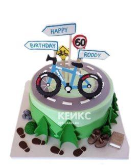 Торт с велосипедом, дорогой и знаками
