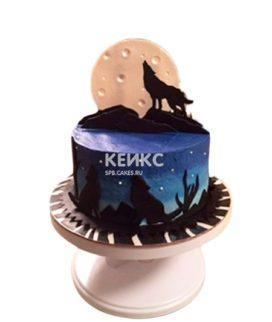Торт с фигурками волка и луны