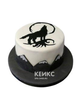 Торт черно-белого цвета с черным волком