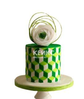 Торт в зеленых тонах с графическим рисунком и цветком