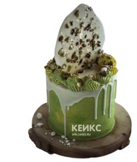 Торт с зелёной и белой глазурью