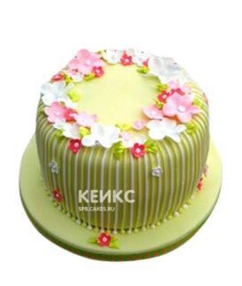 Зеленый торт с цветами