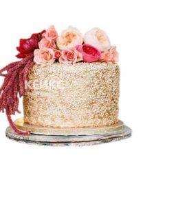 Золотой торт с розовыми цветами