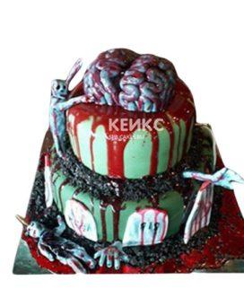 Торт в виде зомби с мозгами и кровью