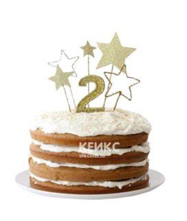 Торт с открытыми коржами и звездами