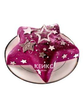 Торт в виде звезды малинового цвета