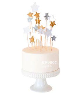 Торт с серебряными и золотыми звездами