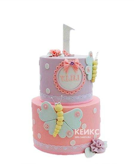 Сиренево-розовый торт бабочки в горошек