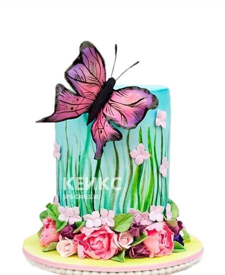 Торт бабочки с цветами