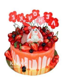 Детский фруктовый торт с белым зайкой и надписью
