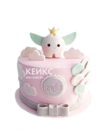 Детский розовый торт на первый зубик