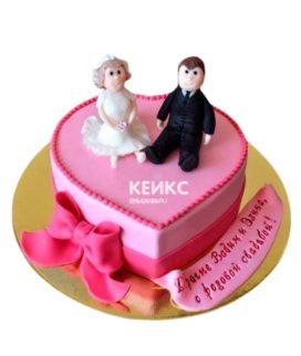 Торт на розовую свадьбу 6