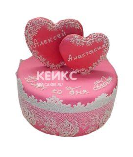 Торт на розовую свадьбу 9