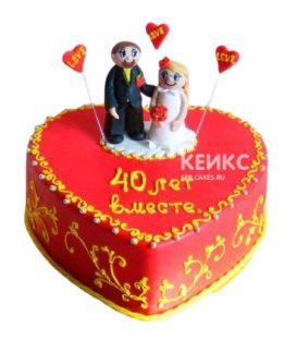 Торт на рубиновую свадьбу 4