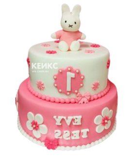 Торт бело-розовый 10