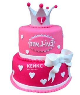 Торт бело-розовый 13