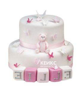 Торт бело-розовый 14