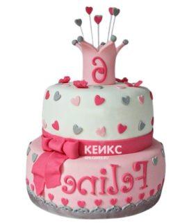 Торт бело-розовый 16