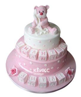 Торт бело-розовый 4