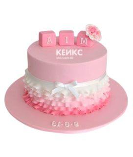 Торт бело-розовый 6