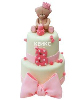 Торт бело-розовый 8
