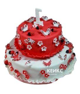 Торт красно-белый 7