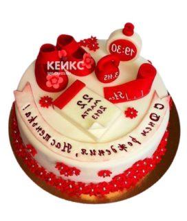 Торт красно-белый 8