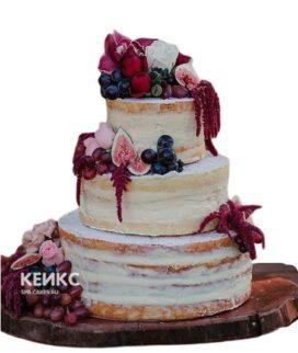 Свадебный торт бордовый 12