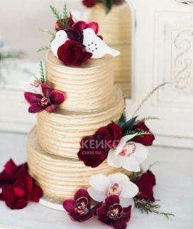 Свадебный торт бордовый 15