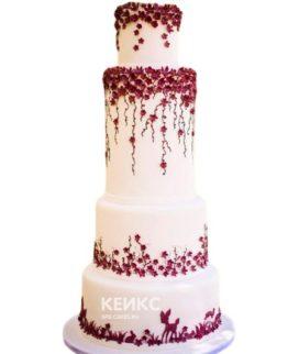 Свадебный торт бордовый 16