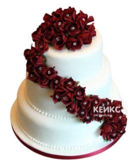 Свадебный торт бордовый 17
