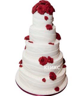 Свадебный торт бордовый 18