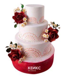 Свадебный торт бордовый 19