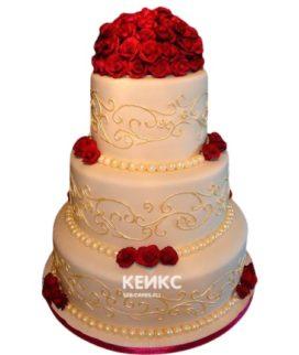 Свадебный торт бордовый 2