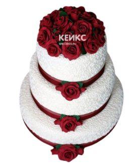 Свадебный торт бордовый 22