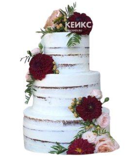 Свадебный торт бордовый 23