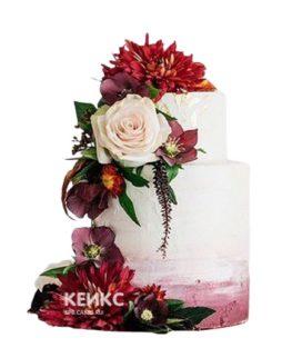 Свадебный торт бордовый 24