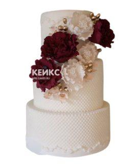 Свадебный торт бордовый 25