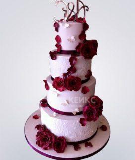 Свадебный торт бордовый
