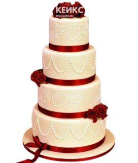 Свадебный торт бордовый 4