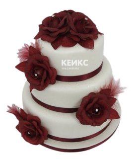 Свадебный торт бордовый 5
