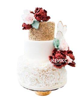 Свадебный торт бордовый 7
